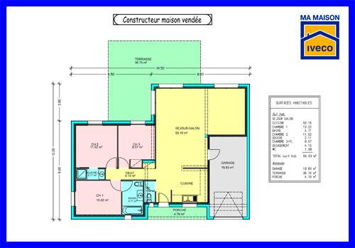 plan de maison plain pied terrasse garage