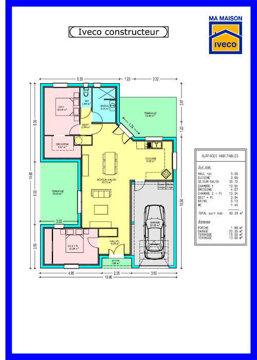 Plans de maisons for Plan maison plain pied 50m2