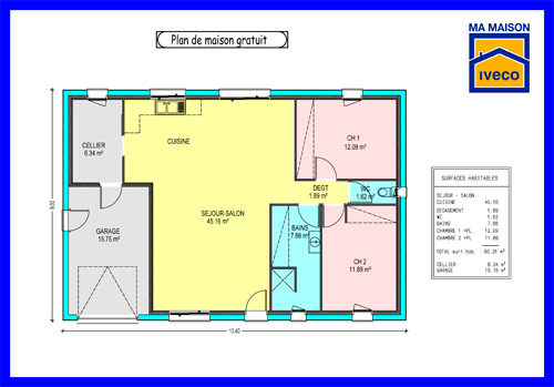 Plans de maisons for Plan maison 80m2 plein pied