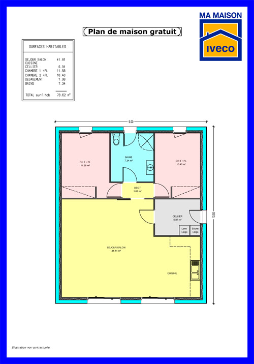 Plan de maison gratuit plain pied for Plan de maison traditionnelle gratuit