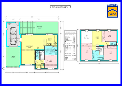 Plans de maisons for Plan maison 100m2 2 etages