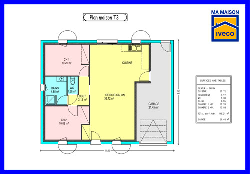 Plans de maisons for Plan maison t3