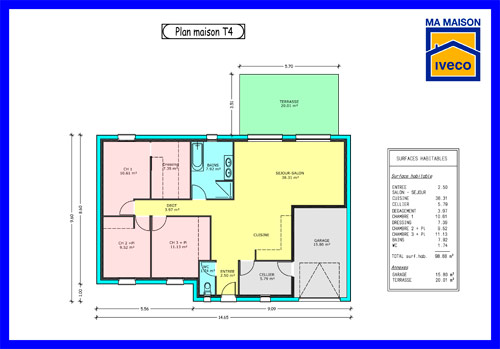 Plans de maisons for Plan de maison de 90m2