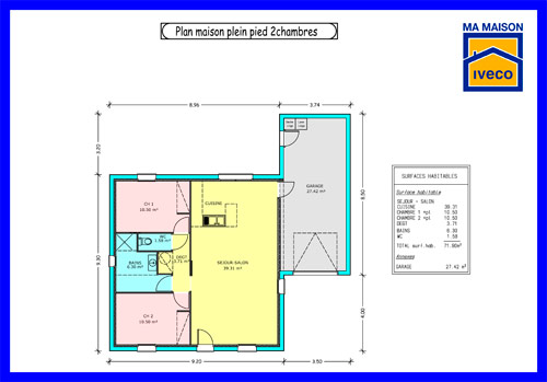 Plan de maison 2 chambres sans garage for Plan maison 1 chambre 1 salon