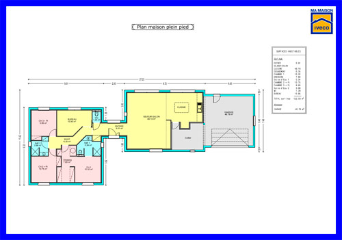 Plan de maison plein pied for Plain pied plan